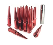 "Spike Solid Steel Lug Nut Set With Key 1/2"" Red"