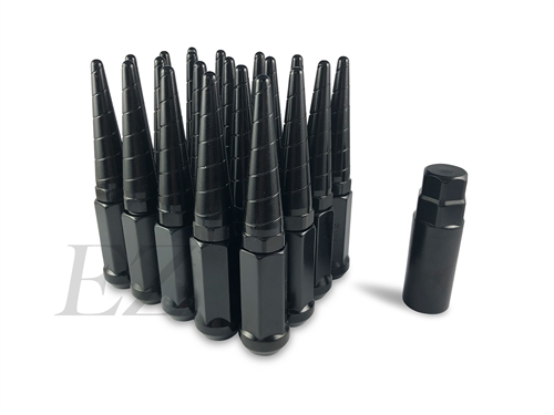 Twisted Screw-on Spike Lug Nuts Kit 14x2.0 Black