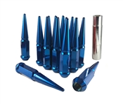 Spike Solid Steel Lug Nuts 14x1.5 Blue