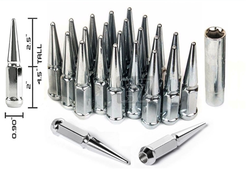 Spike Lug Nuts 24 Pc Kit 14x2.0 Chrome